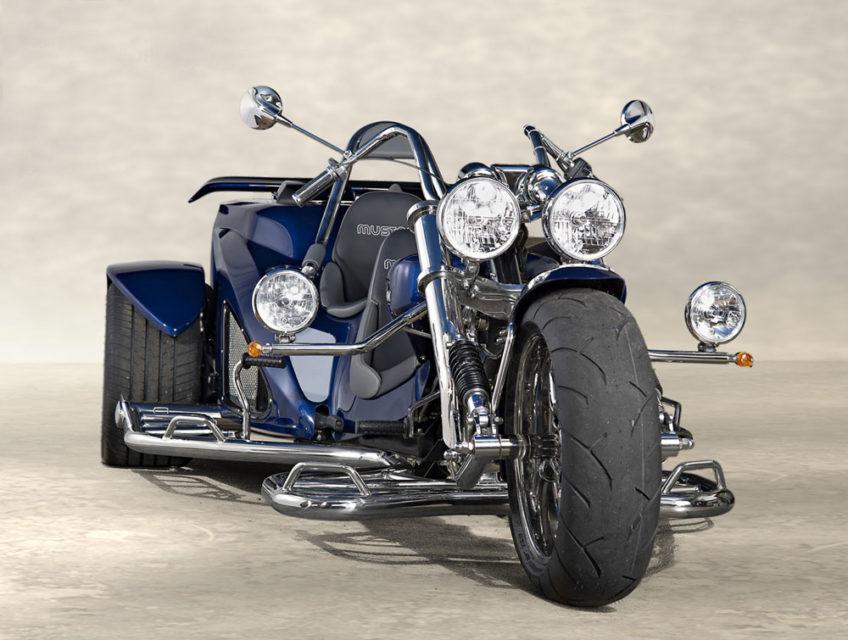 Trike Mustang bleu face