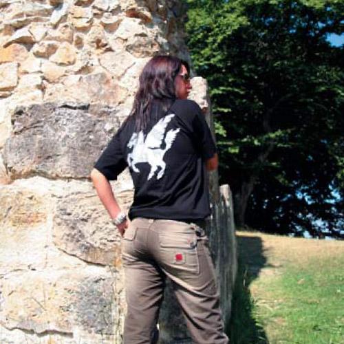 T shirt noir logo Pegase dos Boom