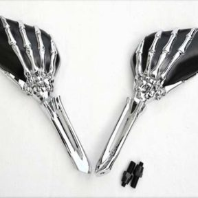 Rétroviseur main de squelette chromée